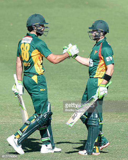 Tim Paine of Tasmania celebrates with team mate Dominic Michael after scoring a half century during the Matador BBQs One Day Cup match between...