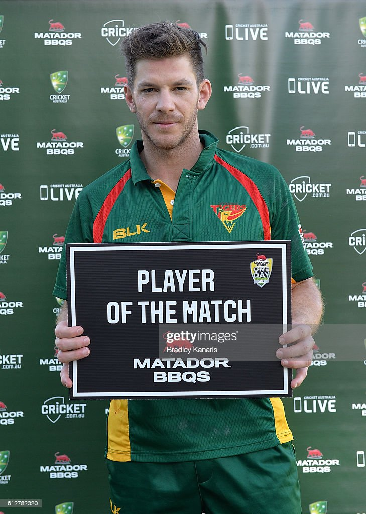 Tim Paine of Tasmania is awarded with the player of the match award after the Matador BBQs One Day Cup match between Tasmania and the Cricket Australia XI at Allan Border Field on October 5, 2016 in Brisbane, Australia.
