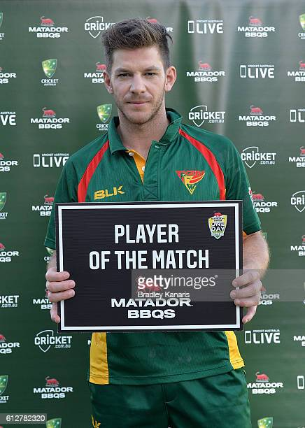 Tim Paine of Tasmania is awarded with the player of the match award after the Matador BBQs One Day Cup match between Tasmania and the Cricket...