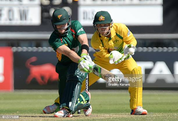 Tim Paine of Tasmania plays a shot during the Matador BBQs One Day Cup match between Tasmania and the Cricket Australia XI at Allan Border Field on...