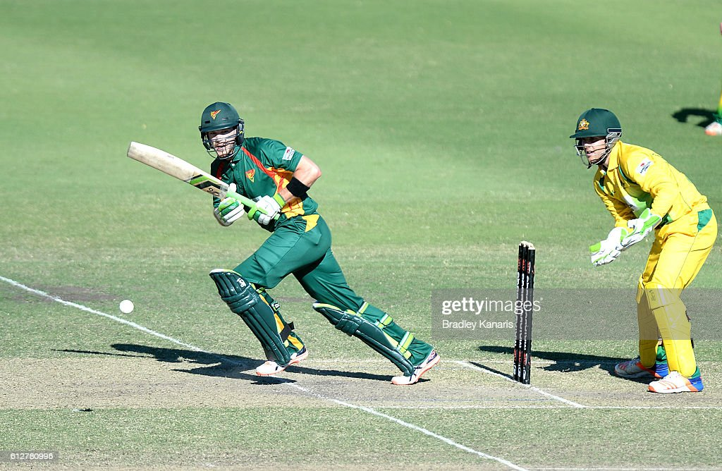 Tim Paine of Tasmania plays a shot during the Matador BBQs One Day Cup match between Tasmania and the Cricket Australia XI at Allan Border Field on October 5, 2016 in Brisbane, Australia.