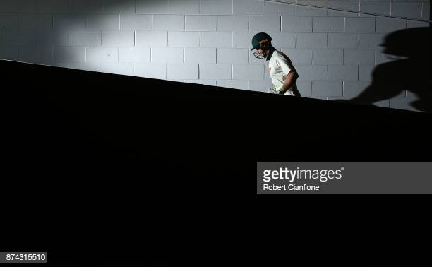 Tim Paine of Tasmania walks out to bat after the tea break during day three of the Sheffield Shield match between Victoria and Tasmania at Melbourne...