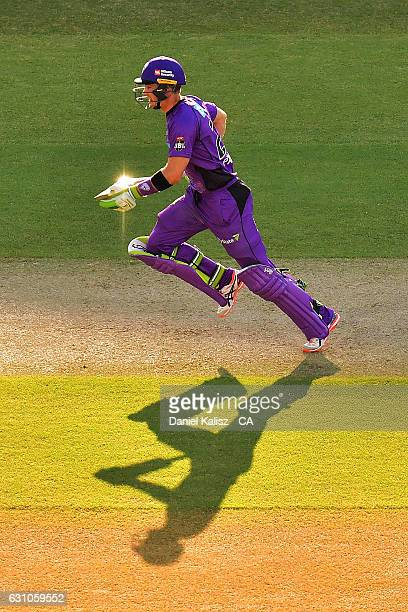 Tim Paine of the Hobart Hurricanes runs between wickets during the Big Bash League match between the Adelaide Strikers and the Hobart Hurricanes at...