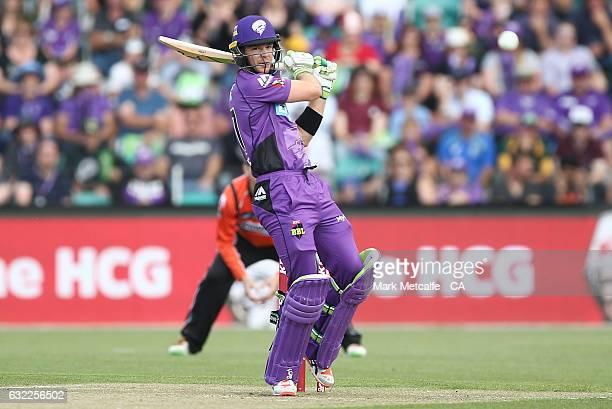 Tim Paine of the Hurricanes bats bats during the Big Bash League match between the Hobart Hurricanes and the Perth Scorchers at Blundstone Arena on...