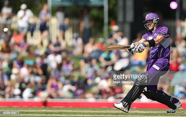 Tim Paine of the Hurricanes bats during the Big Bash League match between the Hobart Hurricanes and the Melbourne Renegades at Blundstone Arena on...