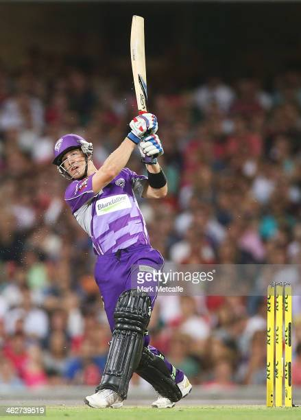 Tim Paine of the Hurricanes bats during the Big Bash League match between the Sydney Sixers and the Hobart Hurricanes at SCG on January 15 2014 in...