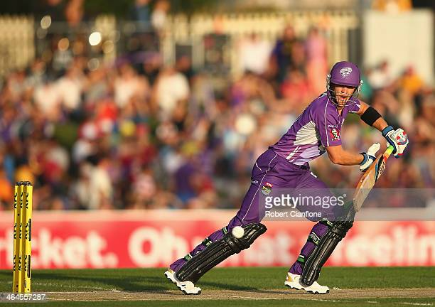 Tim Paine of the Hurricanes bats during the Big Bash League match between the Hobart Hurricanes and Brisbane Heat at Blundstone Arena on January 23...