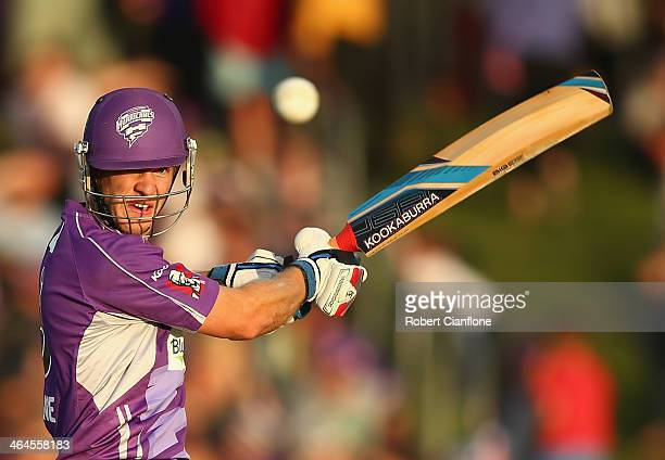 Tim Paine of the Hurricanes bats during the Big Bash League match between the Hobart Hurricanes and Brisbane Heat at Blundstone Arena on January 23,...