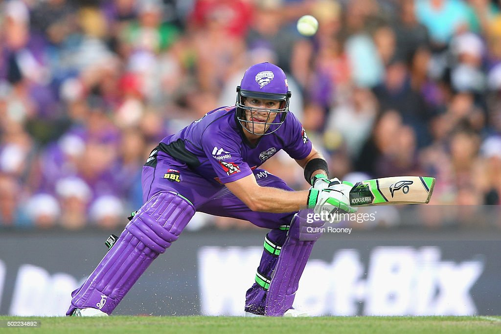 Tim Paine of the Hurricanes bats during the Big Bash League match between Hobart Hurricanes and Brisbane Heat at Blundstone Arena on December 22, 2015 in Hobart, Australia.