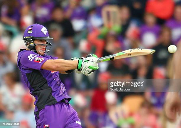 Tim Paine of the Hurricanes bats during the Big Bash League match between the Hobart Hurricanes and the Sydney Thunder at Blundstone Arena on January...