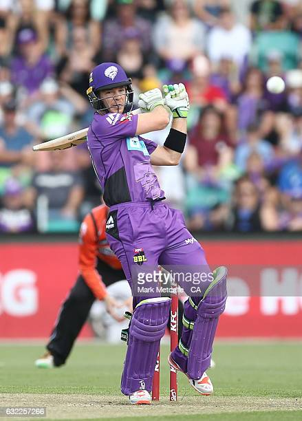 Tim Paine of the Hurricanes bats during the Big Bash League match between the Hobart Hurricanes and the Perth Scorchers at Blundstone Arena on...
