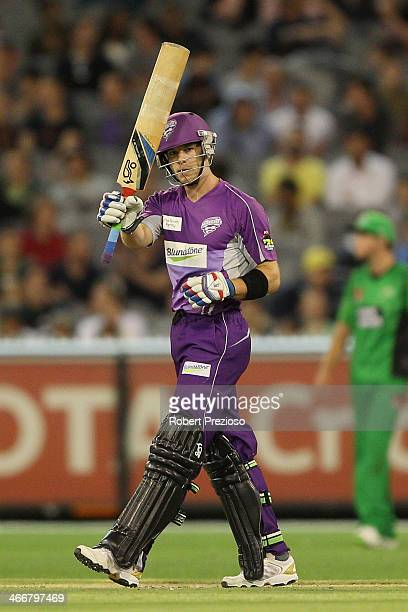Tim Paine of the Hurricanes celebrates his half century during the Big Bash League Semi Final match between the Melbourne Stars and the Hobart...