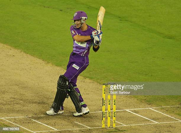 Tim Paine of the Hurricanes hits a boundary during the Big Bash League Semi Final match between the Melbourne Stars and the Hobart Hurricanes at...