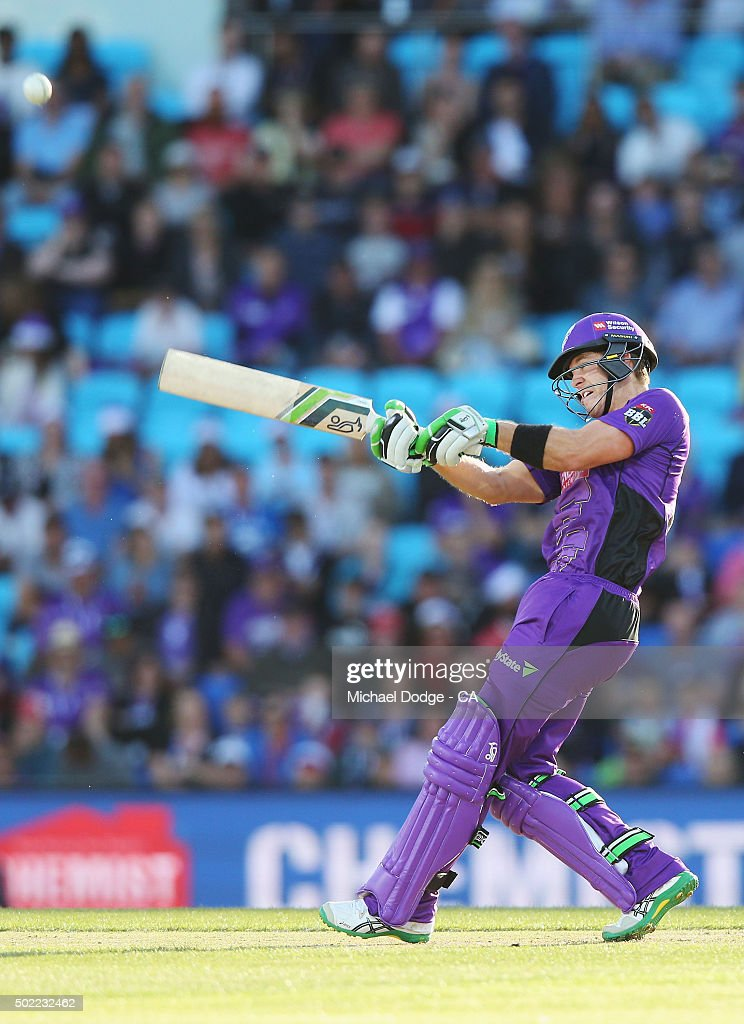 Tim Paine of the Hurricanes hits a six during the Big Bash League match between Hobart Hurricanes and Brisbane Heat at Blundstone Arena on December 22, 2015 in Hobart, Australia.