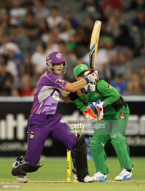 Tim Paine of the Hurricanes plays a shot during the Big Bash League Semi Final match between the Melbourne Stars and the Hobart Hurricanes at...