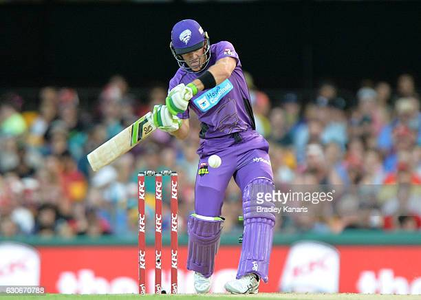Tim Paine of the Hurricanes plays a shot during the Big Bash League between the Brisbane Heat and Hobart Hurricanes at The Gabba on December 30 2016...