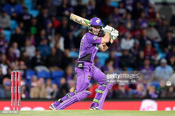 Tim Paine of the Hurricanes plays a shot during the Big Bash League match between the Hobart Hurricanes and Adelaide Strikers at Blundstone Arena on...