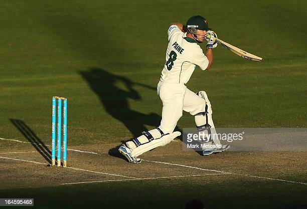 Tim Paine of the Tigers bats during day four of the Sheffield Shield final between the Tasmania Tigers and the Queensland Bulls at Blundstone Arena...