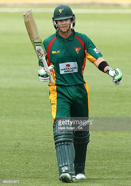 Tim Paine of the Tigers celebrates his centruy during the Matador BBQs One Day Cup match between South Australia and Tasmania at Blacktown...