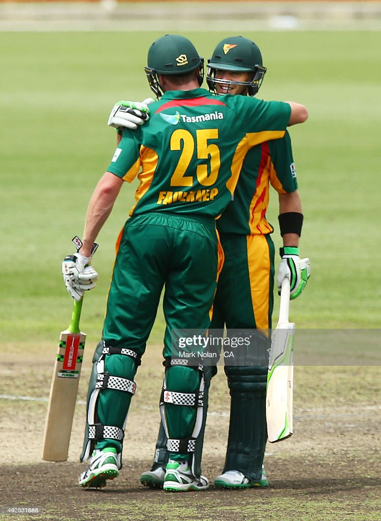 Tim Paine of the Tigers celebrates his centruy during the Matador BBQs One Day Cup match between South Australia and Tasmania at Blacktown International Sportspark on October 14, 2015 in Sydney, Australia.