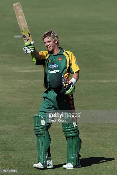 Tim Paine of the Tigers celebrates his century during the Ford Ranger Cup match between the South Australian Redbacks and the Tasmanian Tigers at the...
