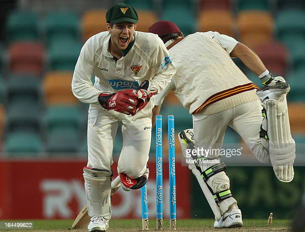 Tim Paine of the Tigers celebrates running out Chris Hartley of the Bulls off the bowling of James Faulkner during day three of the Sheffield Shield...