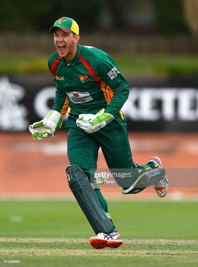 Tim Paine of the Tigers celebrates victory during the Matador BBQs One Day Cup match between New South Wales and Tasmania at Hurstville Oval on October 9, 2016 in Sydney, Australia.