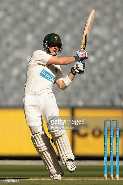 Tim Paine of the Tigers plays a shot during day four of the Sheffield Shield match between Victoria and Tasmania at Melbourne Cricket Ground on March...