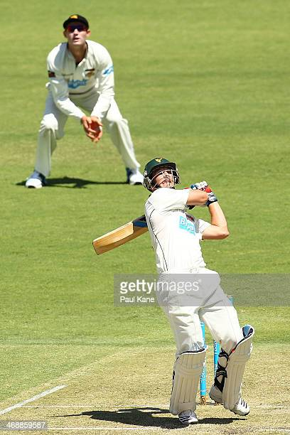 Tim Paine of the Tigers skys the ball to Nathan CoulterNile of the Warriors during day one of the Sheffield Shield match between Western Australia...