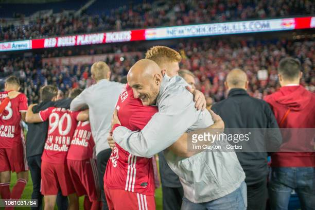 Tim Parker of New York Red Bulls and Aurelien Collin of New York Red Bulls celebrate the teams Supporters Shield win during the New York Red Bulls Vs...