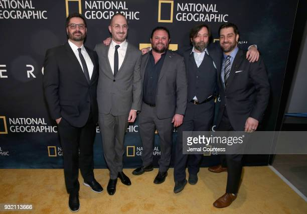 "Tim Pastore Darren Aronofsky Scott Franklin Ari Handel and Matt Renner attend National Geographic's world premiere screening of ""One Strange Rock"" on..."