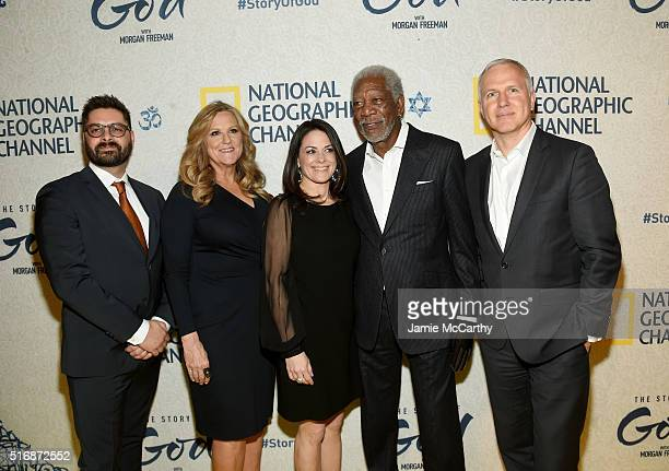 Tim Pastore Lori McCreary Courteney Monroe Morgan Freeman and James Younger attend the world premiere of National Geographic's The Story Of God with...