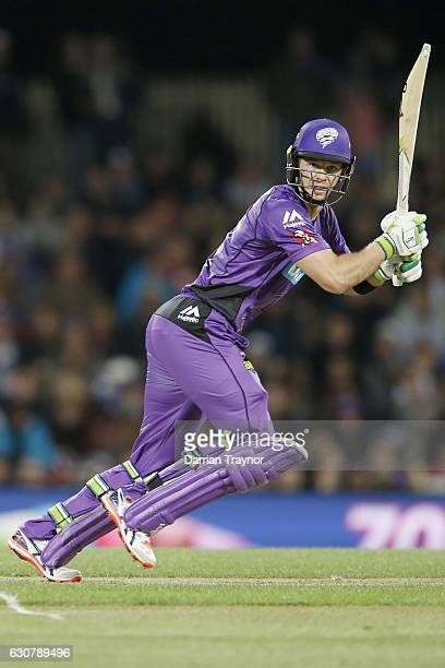 Tim Payne of the Hobart Hurricanes bats during the Big Bash League match between the Hobart Hurricanes and Adelaide Strikers at Blundstone Arena on...