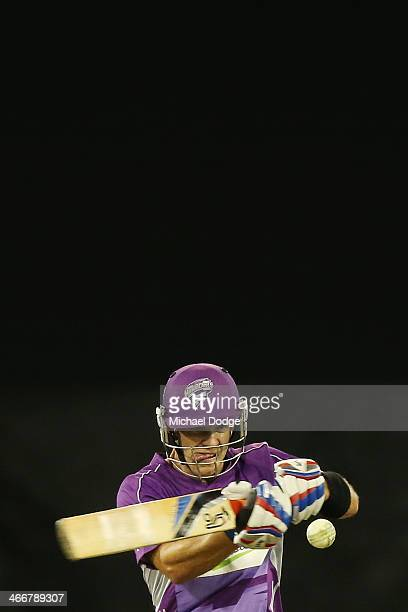 Tim Payne of the Hurricanes plays a shot during the Big Bash League Semi Final match between the Melbourne Stars and the Hobart Hurricanes at...