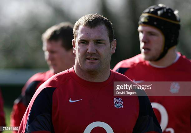 Tim Payne the England prop attends the England rugby training session held at Bath University on March 7 2007 in Bath United Kingdom