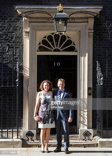 Tim Peake and wife Rebecca arrive to meet Prime Minister Theresa May and students for a reception at Downing Street on July 18 2016 in London England