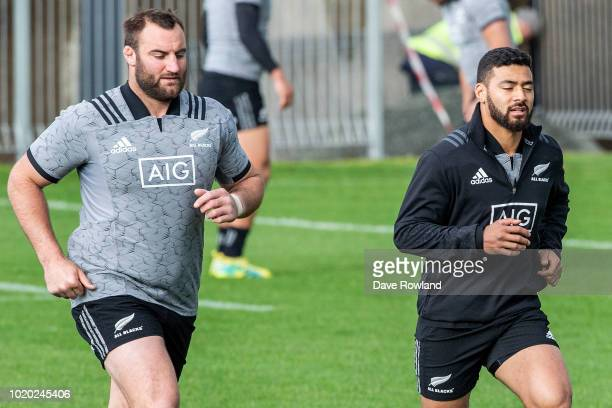 Tim Perry and Richie Mo'unga during a New Zealand All Blacks training session at Mt Smart Stadium on August 21 2018 in Auckland New Zealand