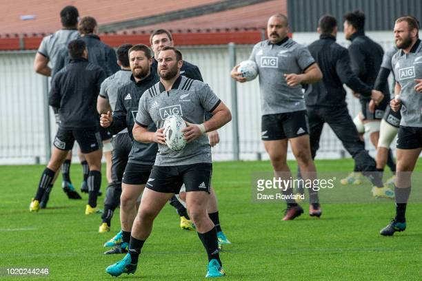 Tim Perry during a New Zealand All Blacks training session at Mt Smart Stadium on August 21 2018 in Auckland New Zealand