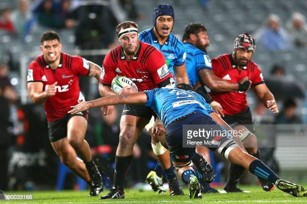 Tim Perry of the Crusaders in action during the round 14 Super Rugby match between the Blues and the Crusaders at Eden Park on May 19 2018 in...