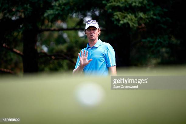 Tim Petrovic chips to the 18th green during the second round of the RBC Canadian Open at the Royal Montreal Golf Club on July 25, 2014 in Montreal,...