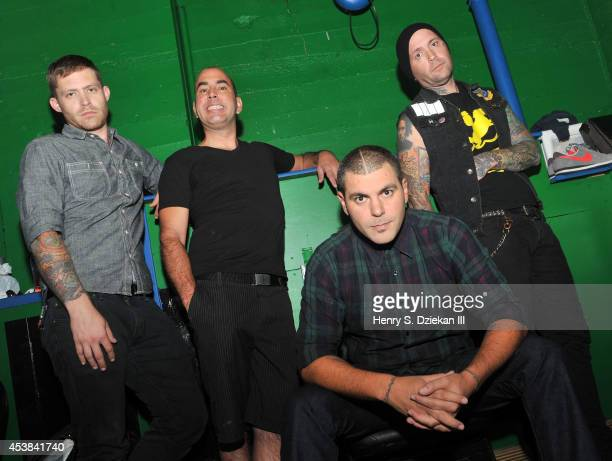 Tim Peugh, Mike Cosgrove, Dryden Mitchell and Terry Corso of Alien Ant Farm pictured backstage at the Gramercy Theatre on August 19, 2014 in New York...