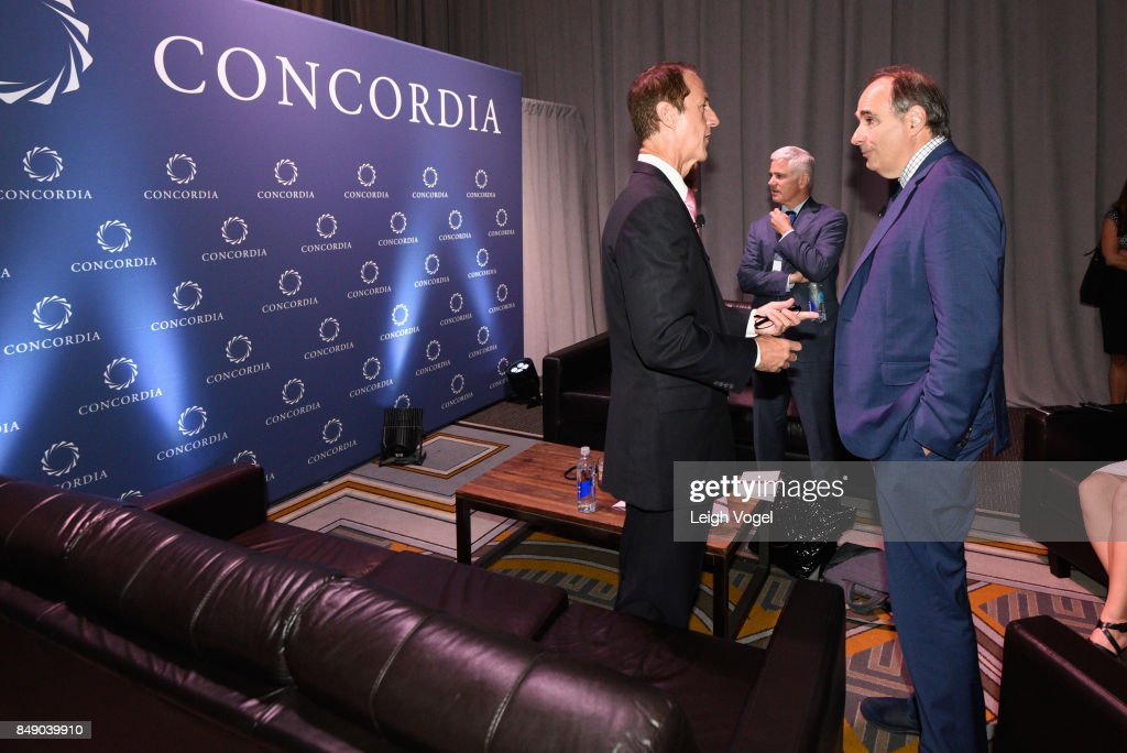 Tim Phillips, President, Americans for Prosperity, and David Axelrod, Director, Institute of Politics, The University of Chicago, attend The 2017 Concordia Annual Summit at Grand Hyatt New York on September 18, 2017 in New York City.