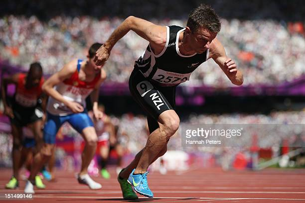 Tim Prendergast of New Zealand competes in the Men's 800m T13 final on day 10 of the London 2012 Paralympic Games at Olympic Stadium on September 8...