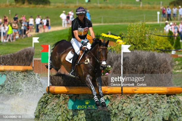 Tim Price of New Zealand riding Cekatinka during the obstacle in the water of the Cross Country test DHLPrize in the park of the CHIO of Aachen on...
