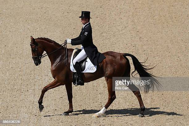 Tim Price of New Zealand riding Ringwood Sky Boy competes in the Individual Dressage event on Day 1 of the Rio 2016 Olympic Games at the Olympic...