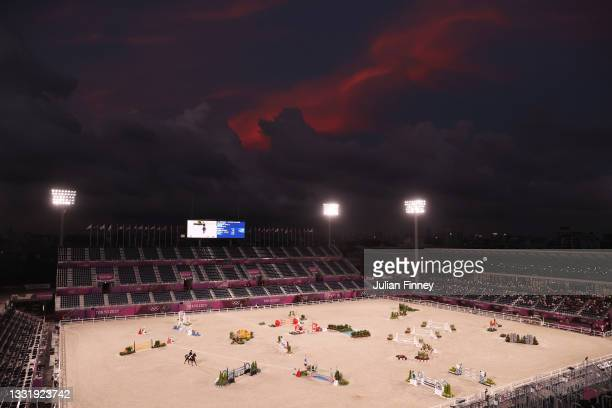 Tim Price of Team New Zealand riding Vitali competes during the Eventing Jumping Team Final and Individual Qualifier on day ten of the Tokyo 2020...