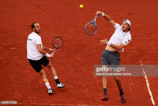 Tim Puetz and JanLennard Struff of Germany take on Feliciano Lopez and Marc Lopez of Spain in the doubles during day two of the Davis Cup World Group...