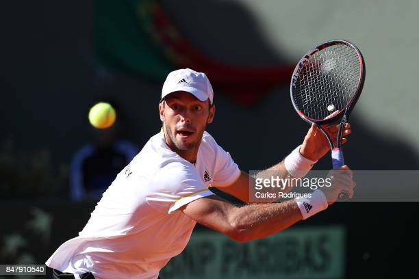 Tim Puetz from Germany during the match Portugal v Germany for Davis Cup World Group Playoff Day Two at Centro de Tenis do Jamor on September 16 2017...