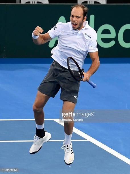Tim Putz of Germany celebrates victory in the doubles match with JanLennard Struff against Matt Ebden and John Peers of Australia during the Davis...