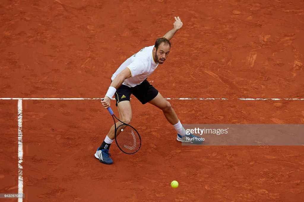 Tim Putz of Germany in action in his doubles match with Jan-Lennard Struff against Feliciano Lopez and Marc Lopez of Spain during day two of the Davis Cup World Group Quarter Finals match between Spain and Germany at Plaza de Toros de Valencia on April 7, 2018 in Valencia, Spain